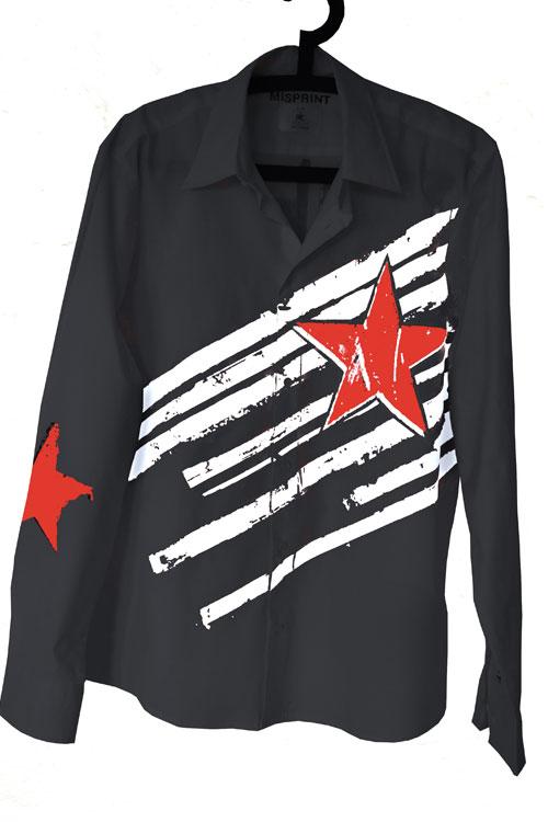 schwarzes hemd von misprint mit weissen streifen und einem roten stern