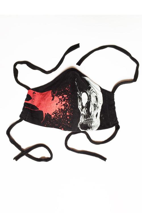 misprintmaske in schwarz mit rotem splash und scull