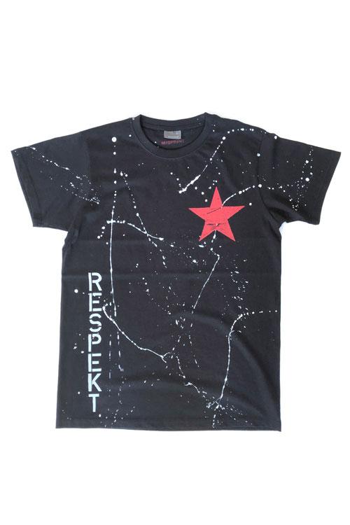 misprint-schwarzes shirt mit weissen spritzern vorn und hinten...clashstyle und kleinem roten stern auf der brust