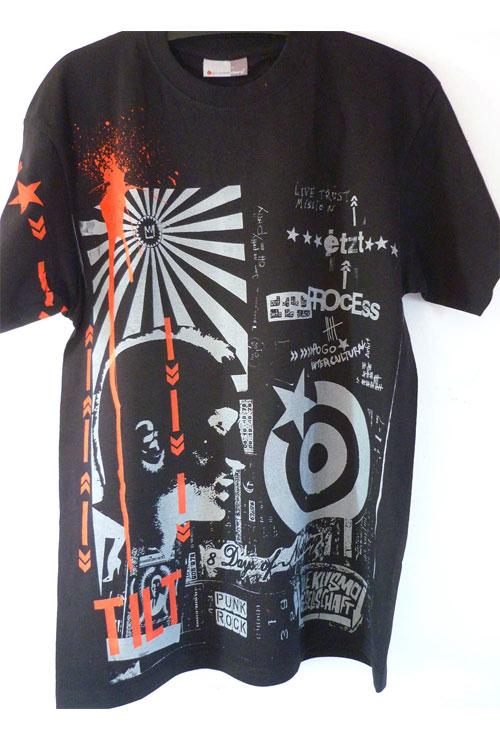 misprint, schwarzes shirt mit grafikdruck und niro, rote splashes