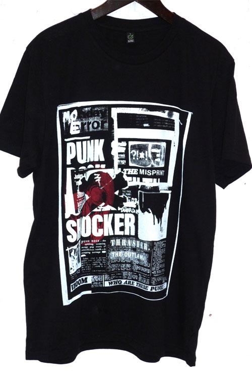 Schwarzes T-shirt mit weisem großen Druck im Punkrock- style